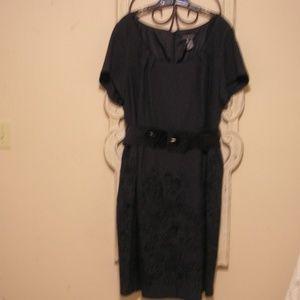 Plus Size Dress Sz 26 Lane Bryant Gray w/embroider